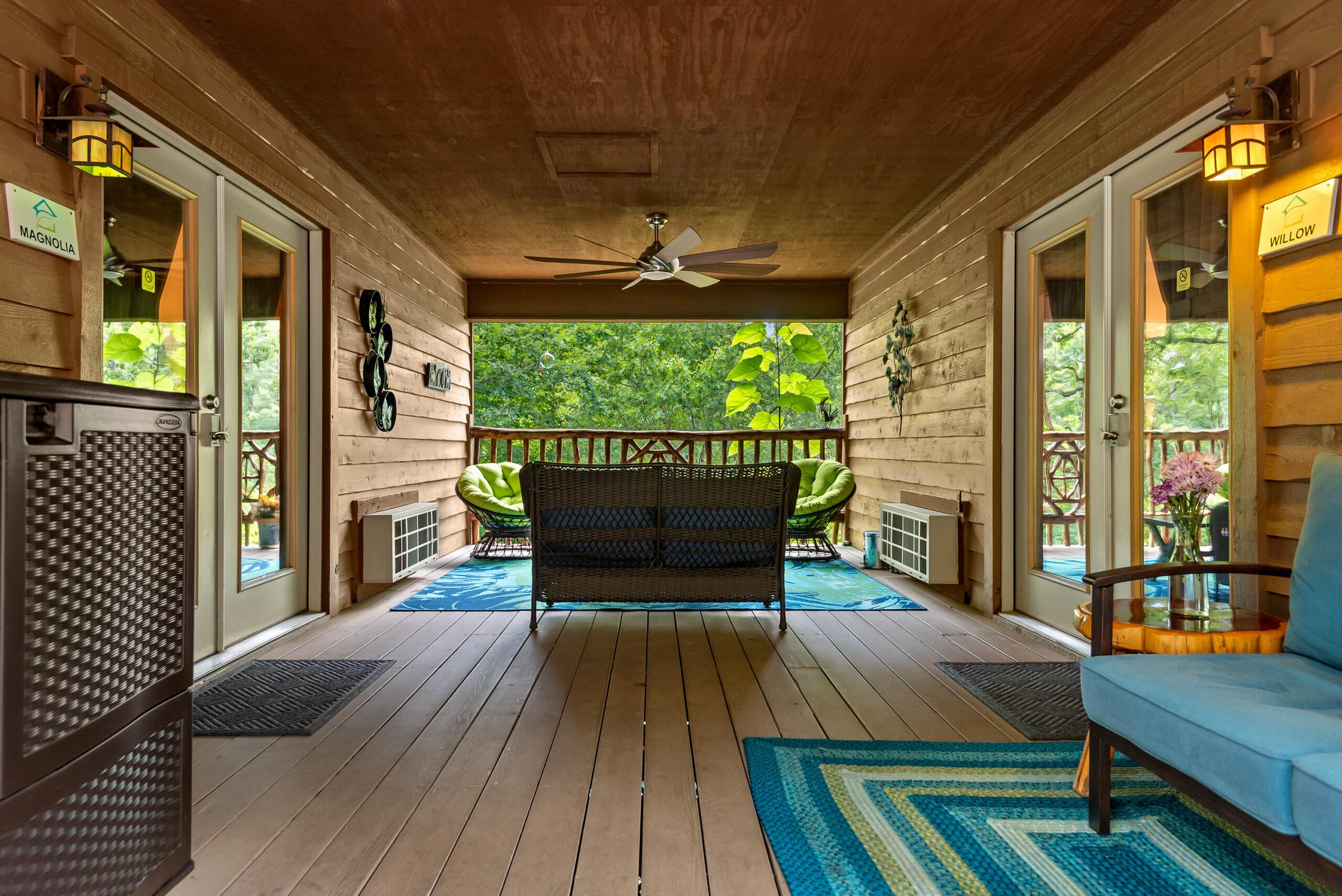 Twin Cabin's porch